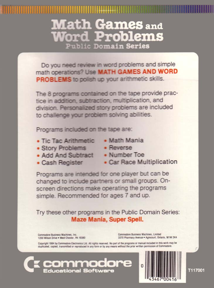 Math Games And Word Problems - Software Details - Plus/4 World